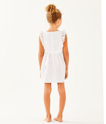 Girls Madelina Dress, Resort White Oval Flower Petal Eyelet, large