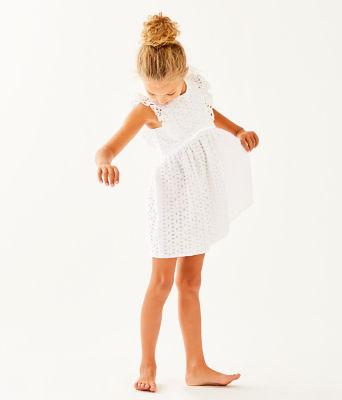Girls Madelina Dress, Resort White Oval Flower Petal Eyelet, large 2