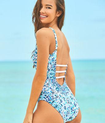 Jaspen One-Piece Swimsuit, Resort White Call My Shell Phone Eng Swim One Piece F, large