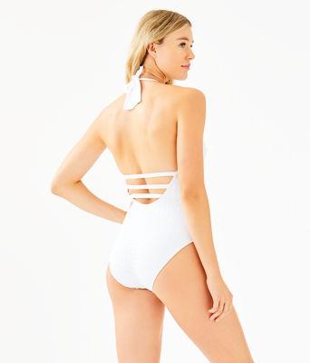 Nevis One-Piece Halter Swimsuit, Resort White Crochet Swim Fabric, large 1