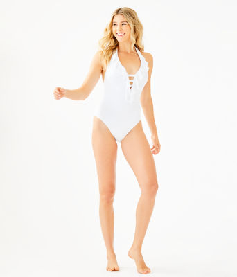 Nevis One-Piece Halter Swimsuit, Resort White Crochet Swim Fabric, large 2