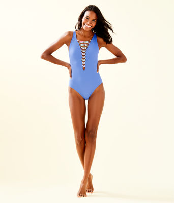 Isle Lattice One-Piece Swimsuit, Blue Haven, large 2