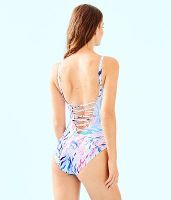 Isle Lattice One-Piece Swimsuit, Crew Blue Tint Kaleidoscope Coral, large 1