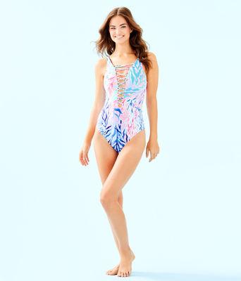 Isle Lattice One-Piece Swimsuit, Crew Blue Tint Kaleidoscope Coral, large 2