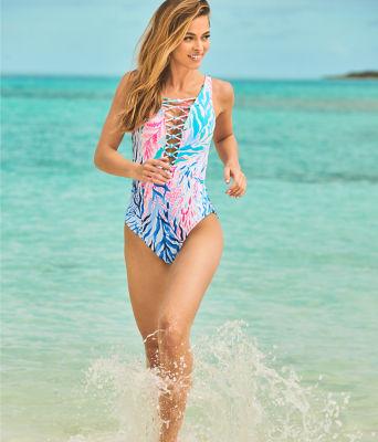 Isle Lattice One-Piece Swimsuit, Crew Blue Tint Kaleidoscope Coral, large 3