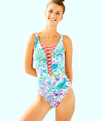 Isle Lattice One-Piece Swimsuit, Multi Postcards From Positano, large