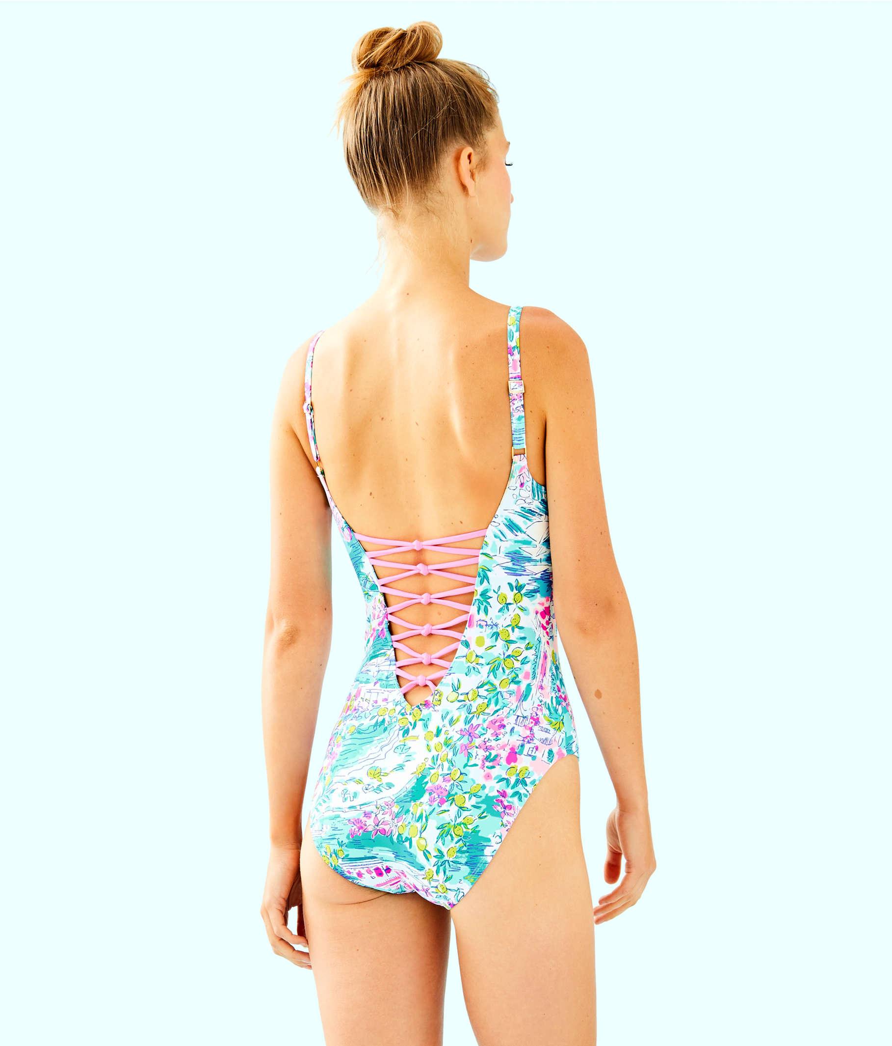 d95a56bd5d ... Isle Lattice One-Piece Swimsuit, Multi Postcards From Positano, large  ...
