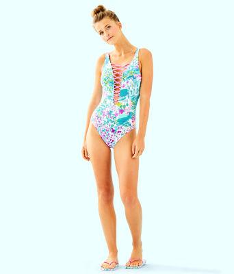 Isle Lattice One-Piece Swimsuit, Multi Postcards From Positano, large 2