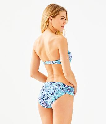 Cay Twist Bandeau Bikini Top, Light Aqua Spritz, large 1
