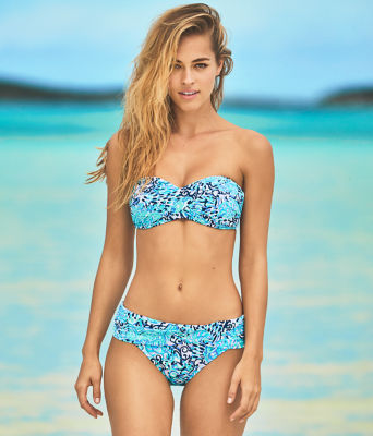 Cay Twist Bandeau Bikini Top, Light Aqua Spritz, large 3