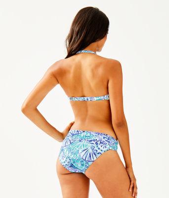 Cay Twist Bandeau Bikini Top, Turquoise Oasis Half Shell, large 1