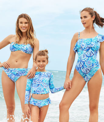 Cay Twist Bandeau Bikini Top, Turquoise Oasis Half Shell, large 3