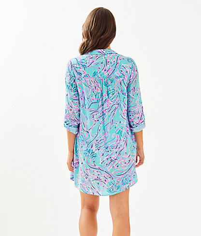 Natalie Shirtdress Cover-Up, Bayside Blue Under The Moon, large 1