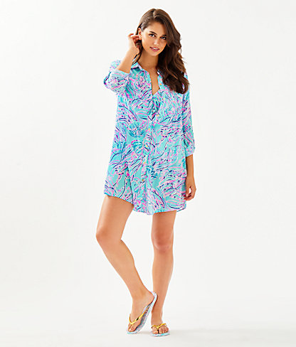 Natalie Shirtdress Cover-Up, Bayside Blue Under The Moon, large 2