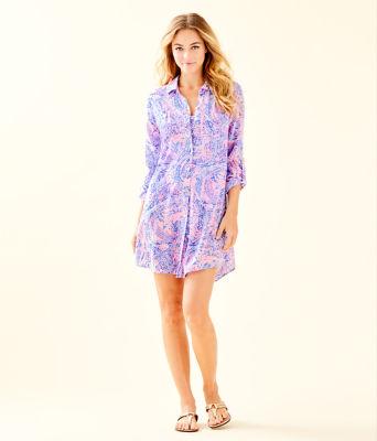 Natalie Shirtdress Cover-Up, Coastal Blue Maybe Gator, large