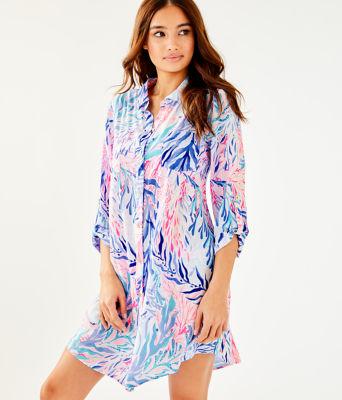 Natalie Shirtdress Cover-Up, Crew Blue Tint Kaleidoscope Coral, large