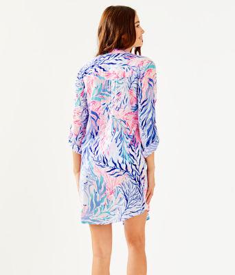 Natalie Shirtdress Cover-Up, Crew Blue Tint Kaleidoscope Coral, large 1