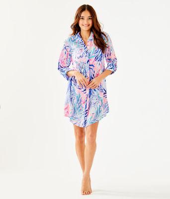 Natalie Shirtdress Cover-Up, Crew Blue Tint Kaleidoscope Coral, large 2