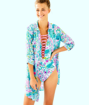 Natalie Shirtdress Cover-Up, Multi Postcards From Positano, large