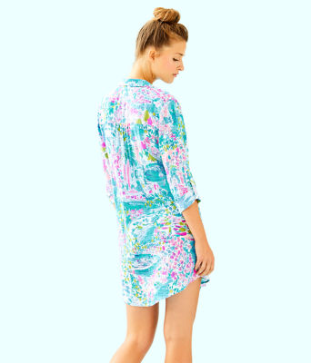 Natalie Shirtdress Cover-Up, Multi Postcards From Positano, large 1