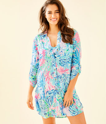 Natalie Shirtdress Cover-Up, Multi Sink Or Swim, large