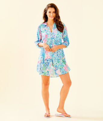 Natalie Shirtdress Cover-Up, Multi Sink Or Swim, large 2