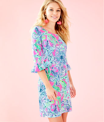 UPF 50+ Sophie Ruffle Dress, Pink Tropics In The Groove, large 0