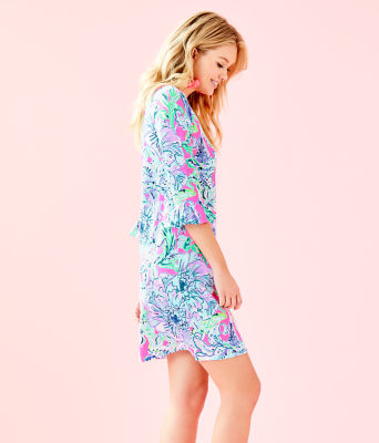 UPF 50+ Sophie Ruffle Dress, Pink Tropics In The Groove, large 2