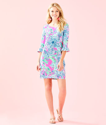 UPF 50+ Sophie Ruffle Dress, Pink Tropics In The Groove, large 3
