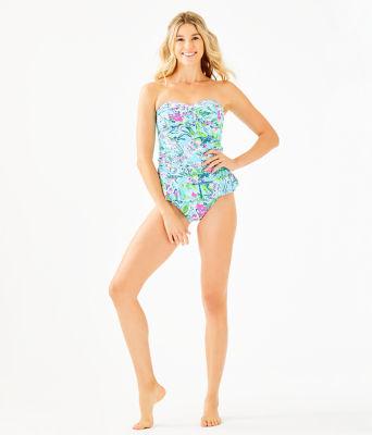 Carmen Ruffled Tankini Top, Bali Blue Sway This Way Swim, large 2