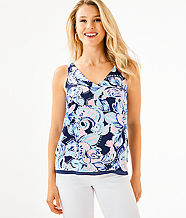 Florin Reversible Tank Top, High Tide Navy Holy Flockamolie, large