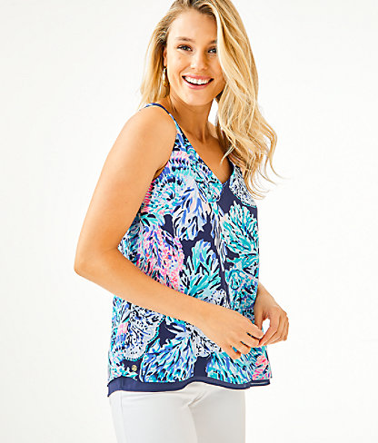 Florin Reversible Tank Top, High Tide Navy Party In Paradise, large 0
