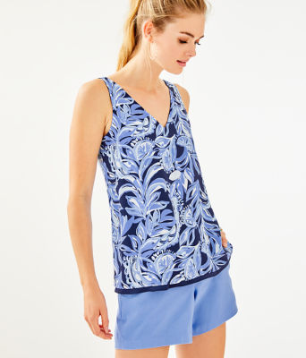 Florin Reversible Sleeveless V-Neck Top, High Tide Navy Youre The Zest, large 0