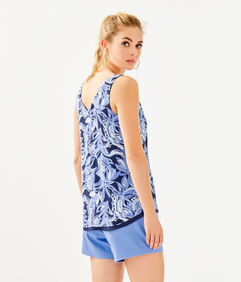 Florin Reversible Sleeveless V-Neck Top, High Tide Navy Youre The Zest, large