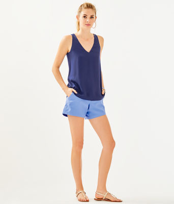 Florin Reversible Sleeveless V-Neck Top, High Tide Navy Youre The Zest, large 2