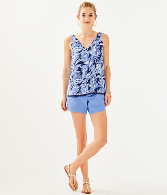 Florin Reversible Sleeveless V-Neck Top, High Tide Navy Youre The Zest, large 3
