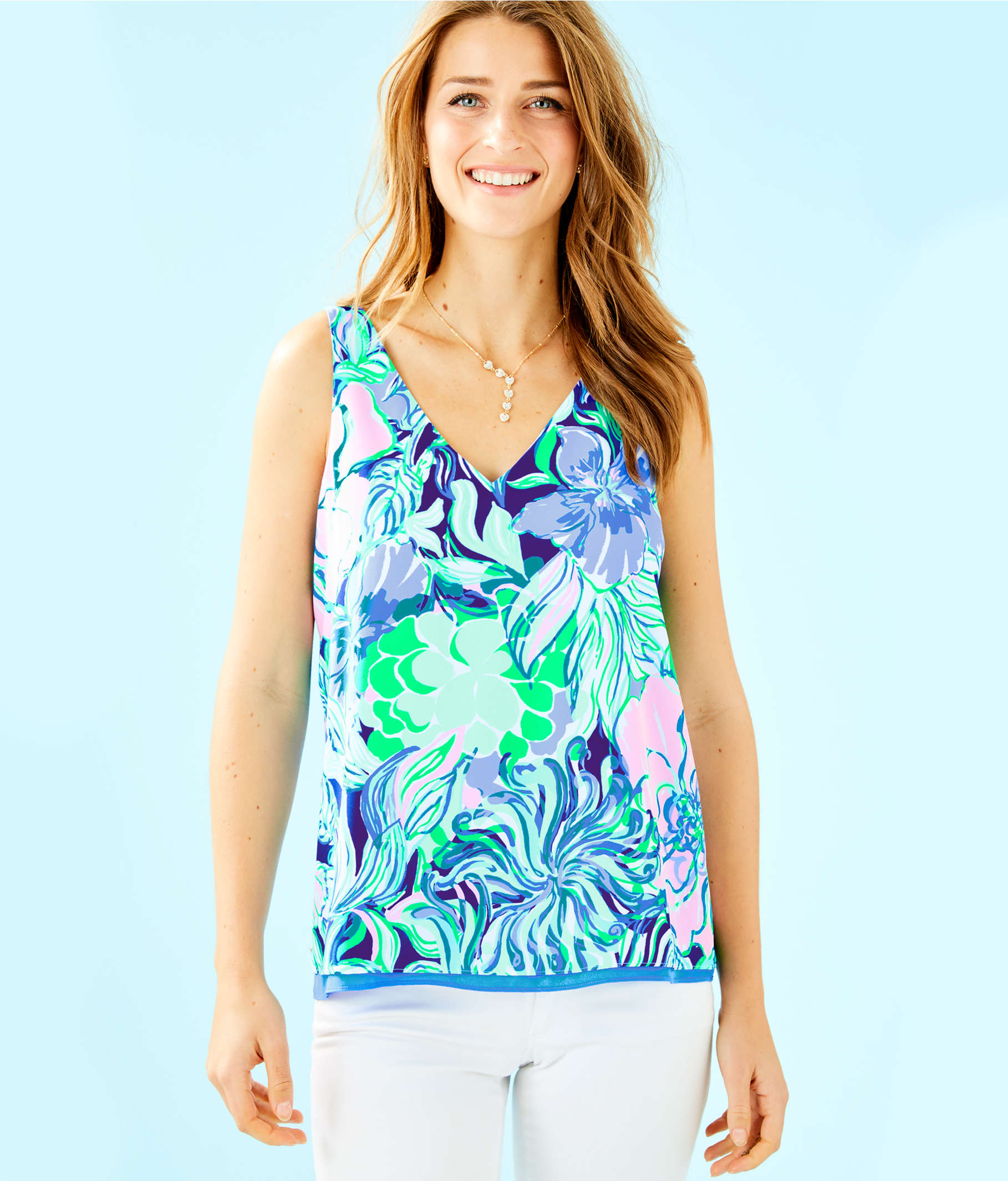 5a068f8bfda1bb ... Florin Reversible Sleeveless V-Neck Top, Multi Party Thyme, large ...