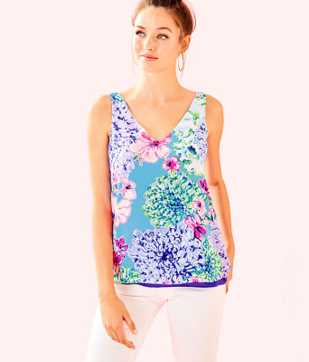 Florin Reversible Sleeveless V-Neck Top, Multi Special Delivery, large