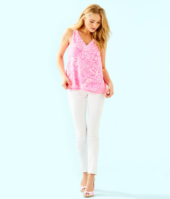Florin Reversible Sleeveless V-Neck Top, Pink Tropics Tint Bunny Hop, large