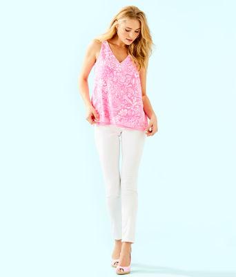 Florin Reversible Sleeveless V-Neck Top, Pink Tropics Tint Bunny Hop, large 3