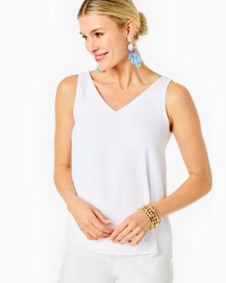 Florin Reversible Sleeveless V-Neck Top, Resort White, large 0