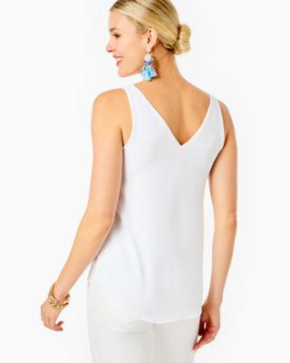 Florin Reversible Sleeveless V-Neck Top, Resort White, large 1