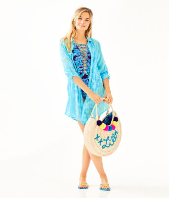 Natalie Shirtdress Cover-Up, Amalfi Blue Poly Crepe Swirl Clip, large