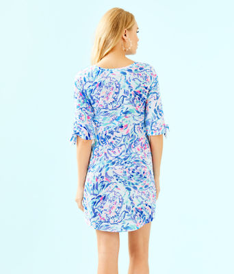Preston Tie Sleeve Dress, Breakwater Tint Party Wave, large 1