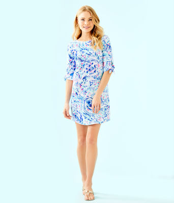 Preston Tie Sleeve Dress, Breakwater Tint Party Wave, large 3