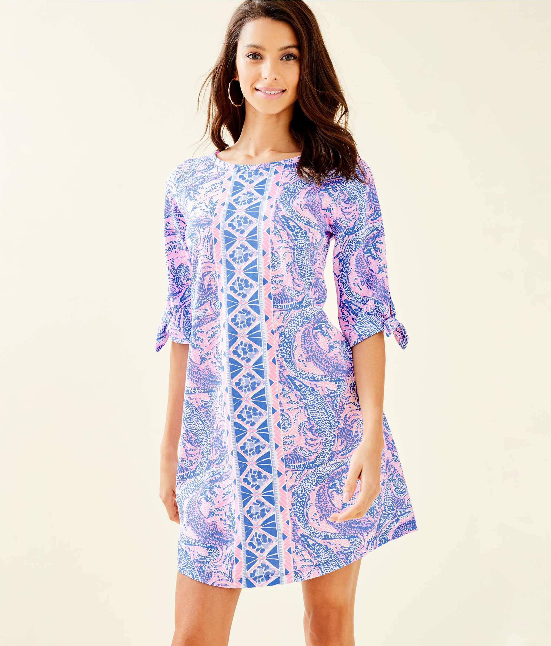 9d7be1ad9a5cba ... Preston Tie Sleeve Dress, Coastal Blue Maybe Gator Engineered Knit Dress,  large ...