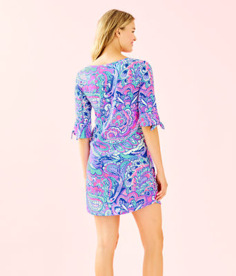 Preston Tie Sleeve Dress, Pink Tropics Mermaids Call, large 1