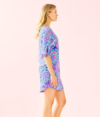 Preston Tie Sleeve Dress, Pink Tropics Mermaids Call, large