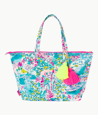 Palm Beach Zip Up Tote, Multi Postcards From Positano, large 0