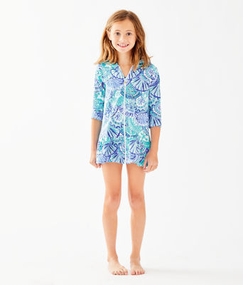 UPF 50+ Girls Cooke Cover-Up, Turquoise Oasis Half Shell, large